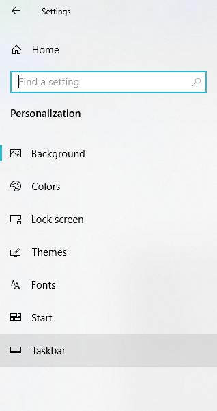 click on taskbar from the left panel