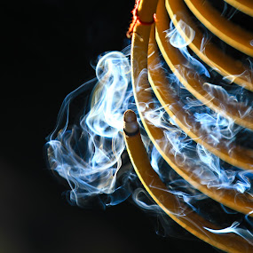 Holy Smoke 1 by Renato Marques - Abstract Fine Art ( temple, incense, spiral, burning, smoke,  )