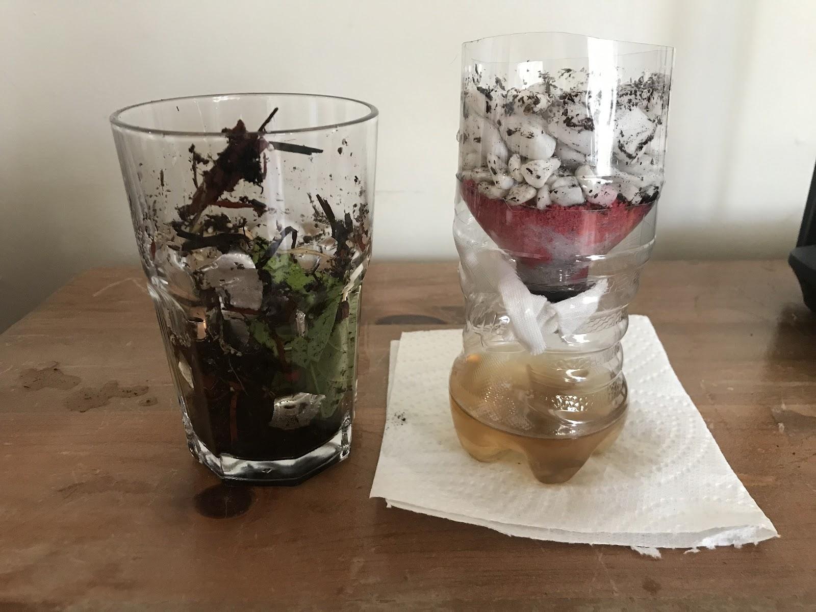 soil in a glass beside project