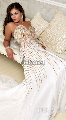 Strapless Wedding Dress ~ Gold Sequined Bodice