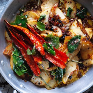 Stir-fried Potato With Salted Black Beans, Chilli And Saltbush.