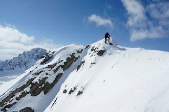 Photo: Kevin on the corniced ridge.