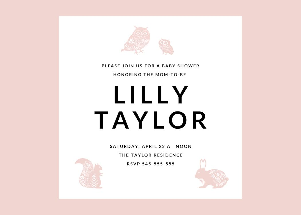 Lilly's Baby Shower - Baby Card Template