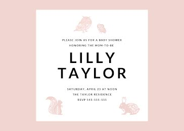 Lilly's Baby Shower - Baby Shower Invitation Template