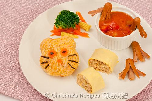 三文魚卷蛋腸仔卡通茄汁飯
