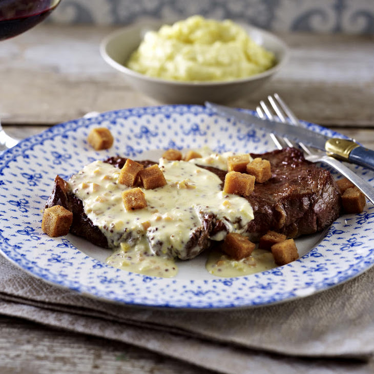 Strip Steaks with Mustard Sauce and Mashed Potatoes