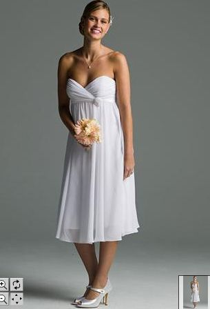 simple knee length bridal dress