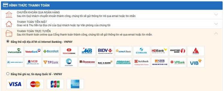 chọn thanh toán trực tuyến