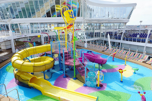 Kids will love frolicking in the spray on Splashaway Bay on deck 15 of Harmony of the Seas.