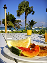 Photo: The food is amazing here. My favorite meal of the day was breakfast, which we ate overlooking the beach. So much fresh fruit and fresh juices!