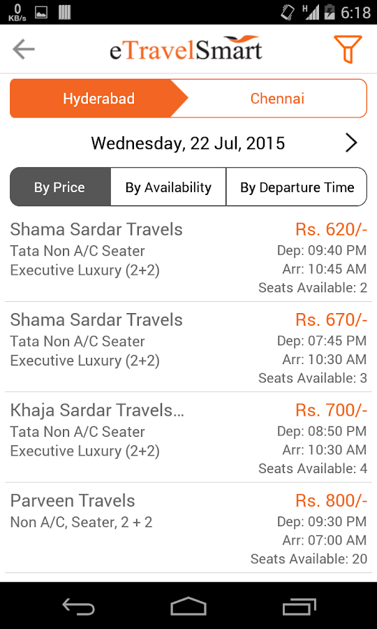 online bus ticket booking app- screenshot