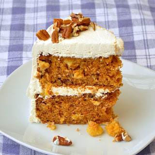 Pineapple Pecan Carrot Cake with Vanilla Buttercream Frosting.