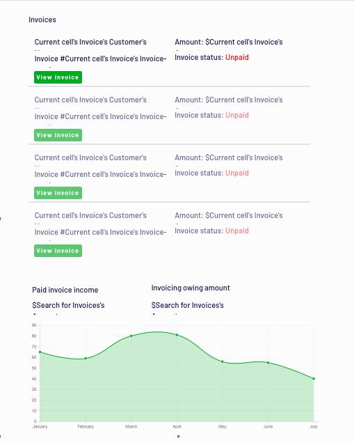 No-code Quickbooks clone invoice dashboard