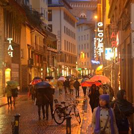 Rainy Florence by Michael Smith - City,  Street & Park  Street Scenes ( florence, umbrellas, street scene, italy, rain )