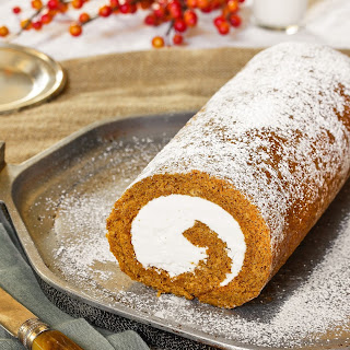 Pumpkin Swiss Cake Roll with Hazelnut Buttercream