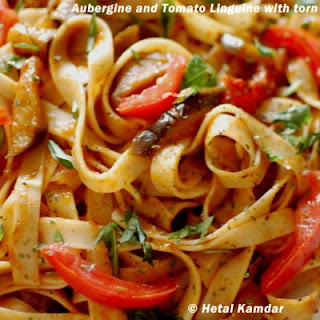 Linguine Pasta With Aubergine And Tomatoes.