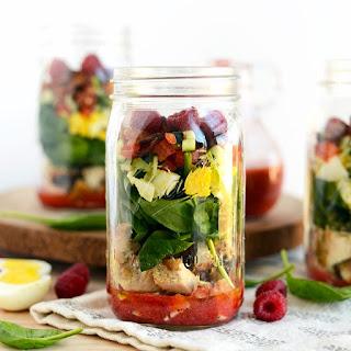 Mason Jar Spring Cobb Salad with Raspberry Basil Vinaigrette.