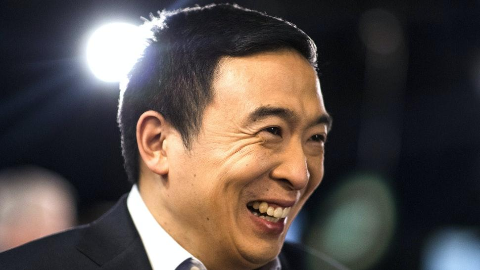 Andrew Yang, founder of Venture for America and 2020 Democratic presidential candidate, reacts as he stands in the spin room following the Democratic presidential debate at Saint Anselm College in Manchester, New Hampshire, U.S., on Friday, Feb. 7, 2020. The New Hampshire debates often mark a turning point in a presidential campaign, as the field of candidates is winnowed and voters begin to pay closer attention.