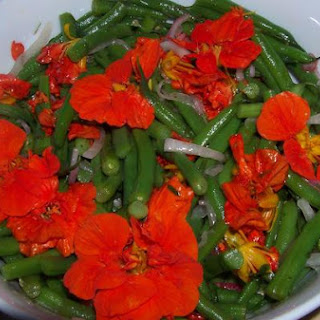 Green Bean and Nasturtium Salad With Tarragon Dressing.