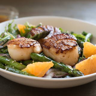 Pan Seared Scallops with Warm Asparagus, Kale and Tangerine Salad