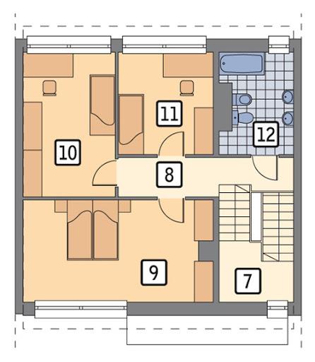 Łączący - segment środkowy podpiwniczony - BCC285a - Rzut piętra