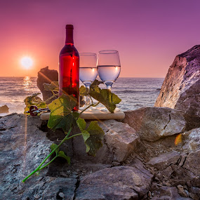 by Becca McKinnon - Artistic Objects Still Life ( wine, erueka, 2015, trinidad, williams, july, ocean, particks point, coast,  )