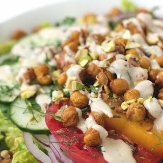 Roasted Chickpea Salad With Hummus Dressing.