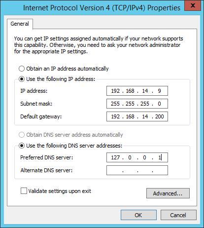 MCSA 2012 - Cài đặt Domain Controller -  đặt ip máy AD