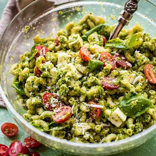 Kale Pesto Mozzarella Pasta Salad.