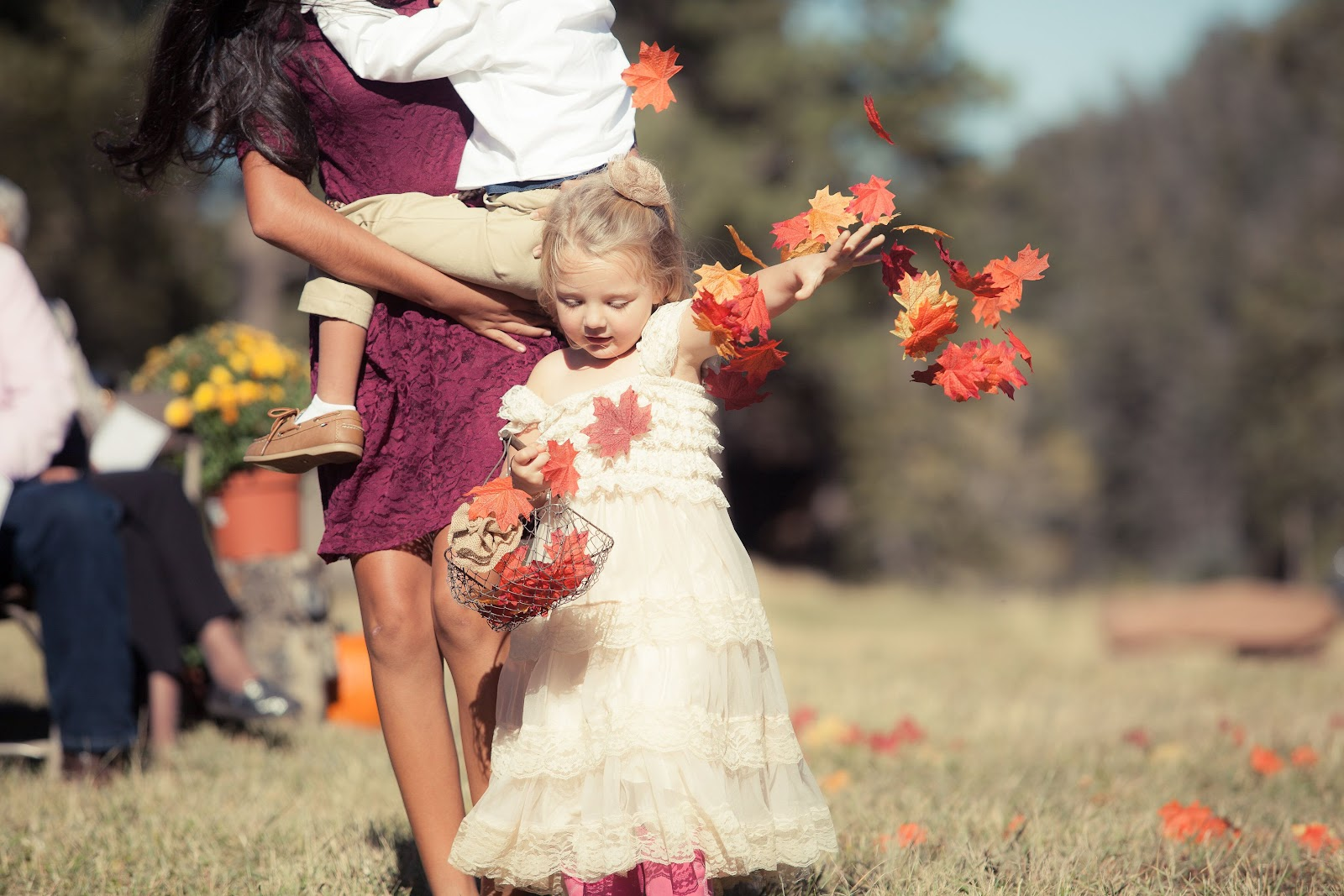Fall Leaves Flower Girl