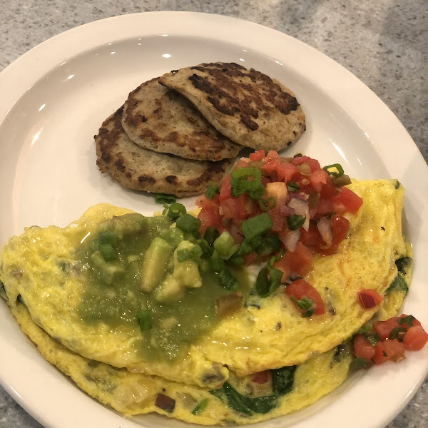 Surfer girl omelette with turkey sausage.