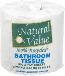 Natural Value 100% Recycled Bathroom Tissue - 500 2-Ply Sheets