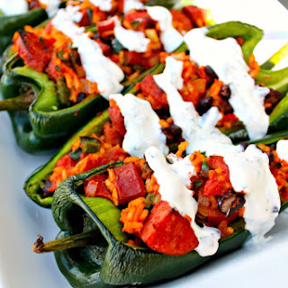 Sausage Stuffed Poblanos with Lime Crema