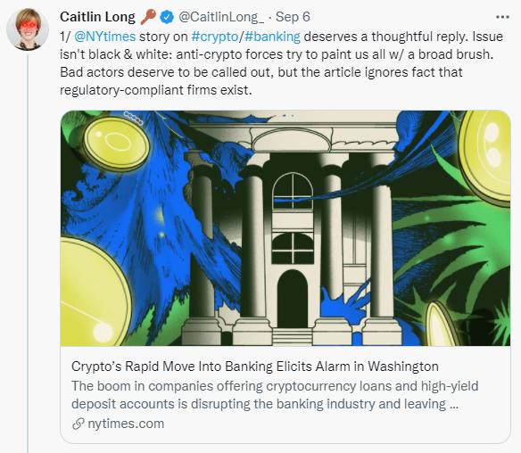 Avanti Bank CEO Caitlin Long thrashes NYT's crypto alarm article