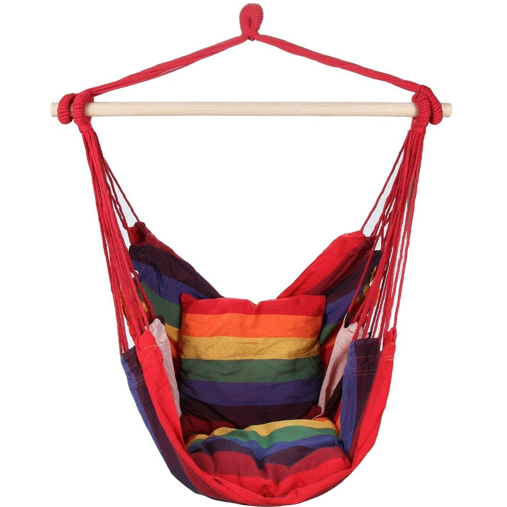 EverKing Hanging Rope best hammock chairs Porch Swing Seat, Large Hammock Net Chair Swing, Cotton Rope Porch Chair for Indoor, Outdoor, Garden, Patio, Porch, Yard - 2 Seat Cushions Included (Red Stripe)