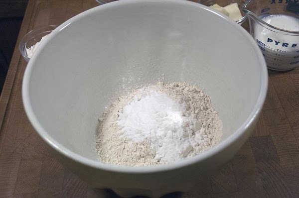Add the flour, salt, and baking powder to a large bowl.