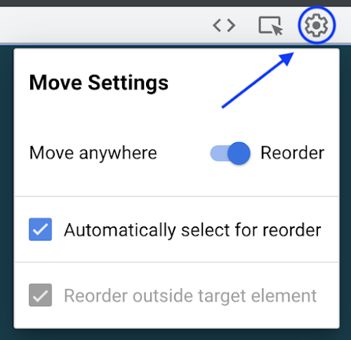 Move anywhere setting menu