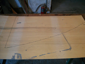 "Photo: the bulhead pattern transfered to the 1/8"" plywood"