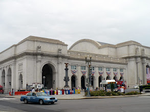 Photo: The red, white, and blue bunting on the southwestern facade of Union Station mark the Fourth of July weekend. I took this photo while returning from the Smithsonian Folklife Festival on the Mall, Sunday, 5 July 2009. I took the interior photos in this album, April 2009.