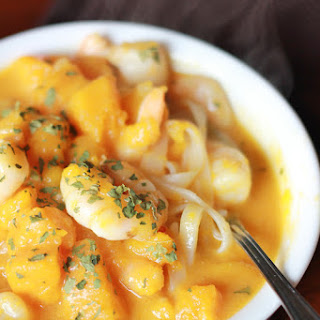 Butternut Squash and Coconut Soup with Shrimp.