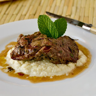Pan Roasted Lamb Steak over Cauliflower Mash
