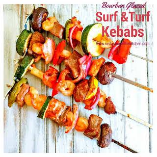 Bourbon Glazed Surf and Turf Kebabs.