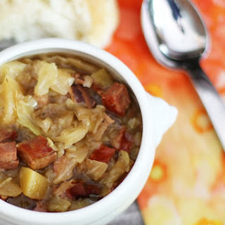 Slow Cooker Polish Sausage and Cabbage Soup.