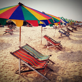 Beach by Suvajee Panmatanee - Instagram & Mobile iPhone ( sand, red, color, blue, green, thailand, sea, yellow, beach )
