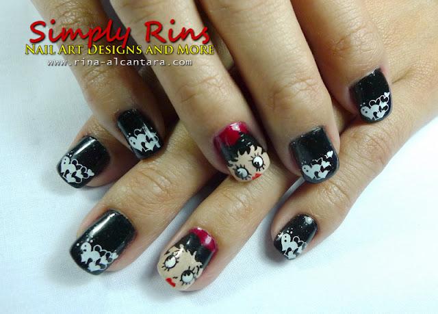 Valentines Betty Boop nail design