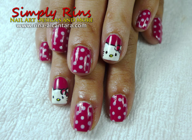 Hello Kitty nail art design by Simply Rins