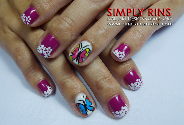 Butterflies and Flowers nail design by Simply Rins