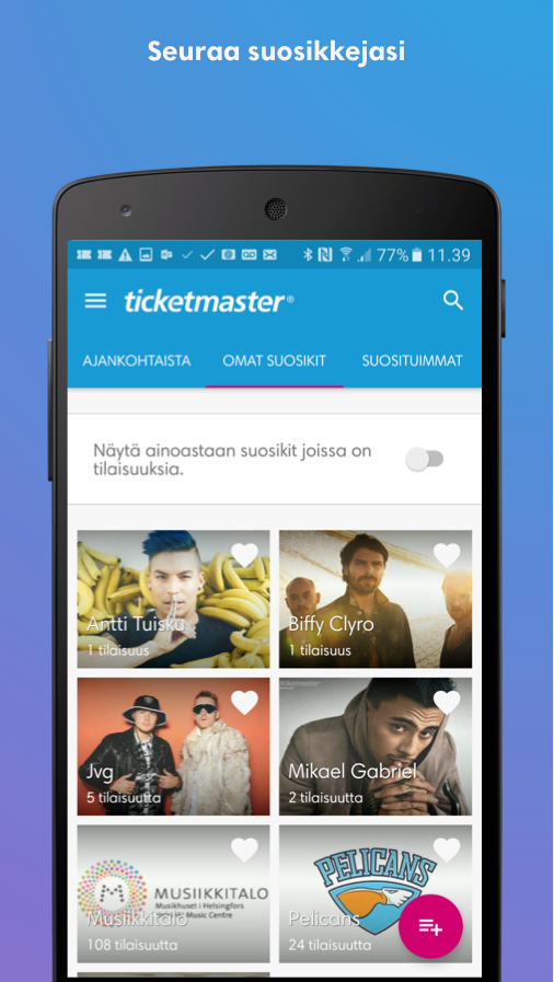 Ticketmaster Suomi- screenshot