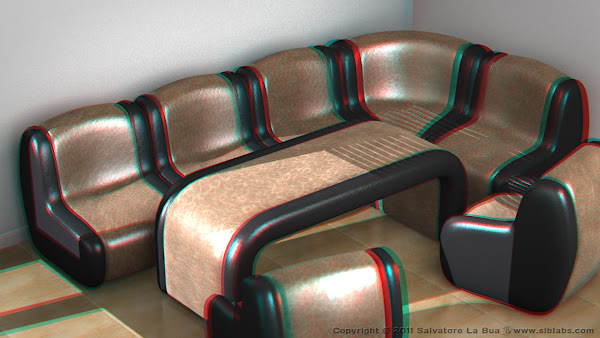 Leather Sofa Set I 3D Anaglyph