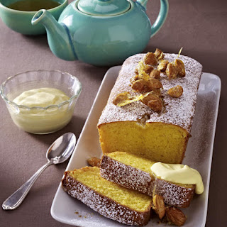 Almond and Vanilla Cake with Rum Whipped Cream.